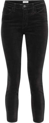 L'Agence Margot Cropped High-rise Stretch-velvet Skinny Jeans - Black