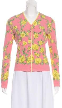 Blumarine V-Neck Floral Print Cardigan