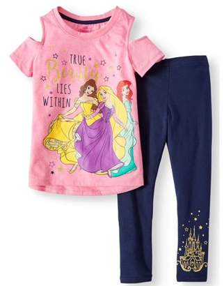 Disney Princess Belle, Rapunzel, and Ariel Tee and Legging 2-Piece Outfit Set (Little Girls)