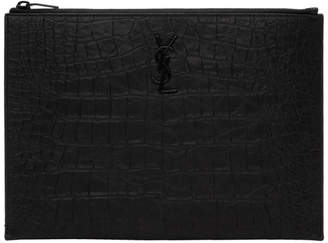 Saint Laurent Black Croc Pouch