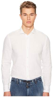Eleventy Linen Spread Collar Shirt