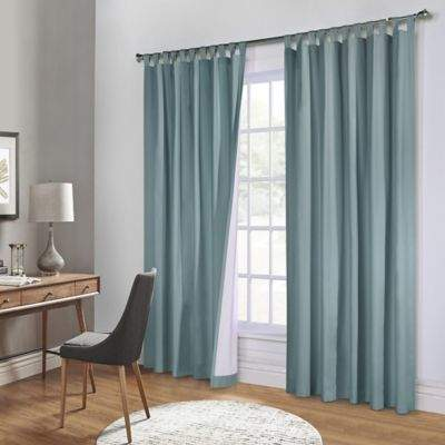 Commonwealth Home Fashions Weathermate 84-Inch Tab Top Window Curtain Panel Pair in Teal