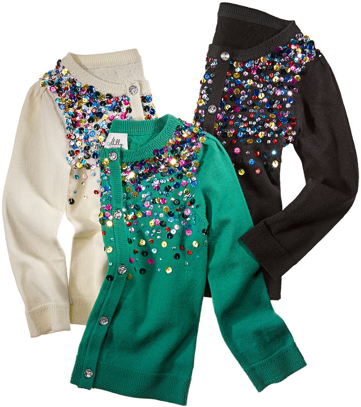 Milly Minis Multi-Sequin Knit Cardigan, Black