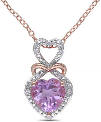 CONCERTO Rose de France Amethyst Diamond-Accented Silver Heart Necklace