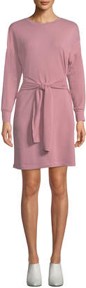 Neiman Marcus Crewneck Long-Sleeve Knit Mini Dress w/ Tie-Front Detail