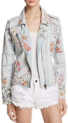 BLANKNYC Floral Embroidered Denim Moto Jacket $168 thestylecure.com