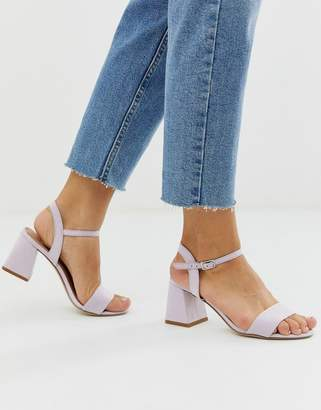New Look low block heeled sandal in lilac