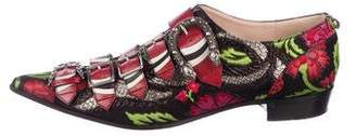 Gucci Embroidered Brocade Susan Buckle Loafers