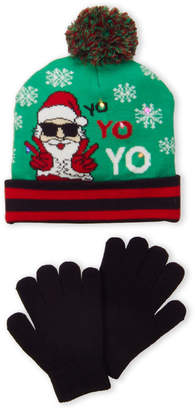 Capelli New York (Boys 4-7) Two-Piece LED Christmas Hat & Gloves Set