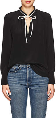 Derek Lam Women's Silk Tie-Neck Blouse - Black