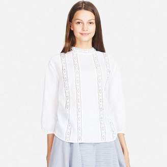 Uniqlo WOMEN Soft Cotton Lace Long Sleeve Blouse