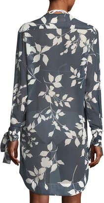 Mother of Pearl Lila.Eugenie Floral-Print Button-Front Semisheer Coverup Tunic