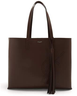 Saint Laurent Perforated-logo leather tote