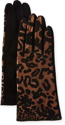Neiman Marcus Metallic Leopard-Print Suede Gloves