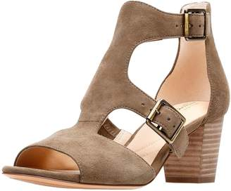 Clarks Deloria Kay Buckle Detail Heeled Sandal - Olive Suede