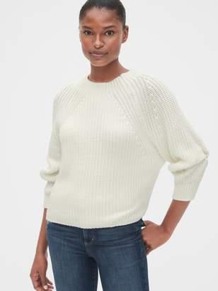 Gap Blouson Sleeve Ribbed Mockneck Sweater