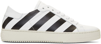 Off-White White Classic Diagonal Sneakers $555 thestylecure.com