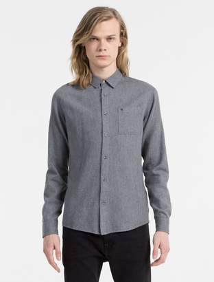 Calvin Klein slim fit cotton linen long sleeve shirt