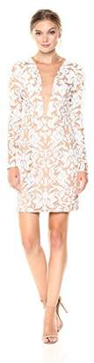 Dress the Population Women's Claudia Plunging Long Sleeve Sequin Lace Mini Dress
