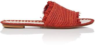 Barneys New York Women's Fringed Raffia Slide Sandals