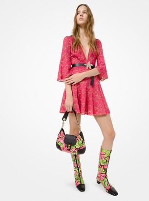 Michael Kors Floral Lace Flare-Sleeve Mini Dress