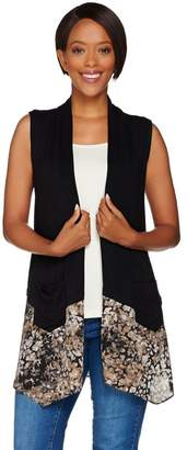Logo By Lori Goldstein LOGO by Lori Goldstein Knit Vest with Printed Trim and Pockets