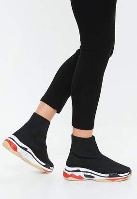 Missguided Black Color Block Out Sole Sock Trainers