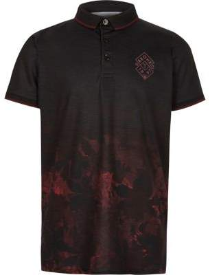 River Island Boys black leaf fade print polo shirt