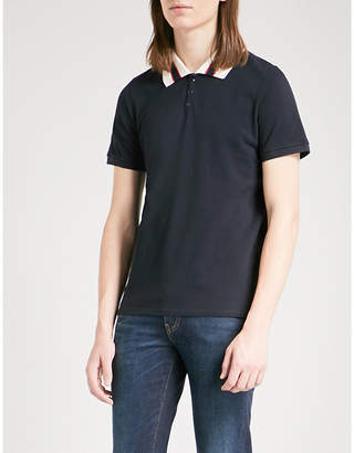 Sandro Striped collar cotton-piqué polo shirt