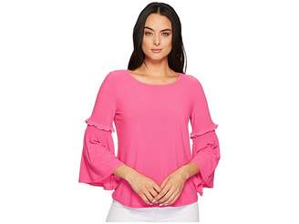 CeCe Bell Sleeve Crepe Knit Top with Smocking Women's Clothing