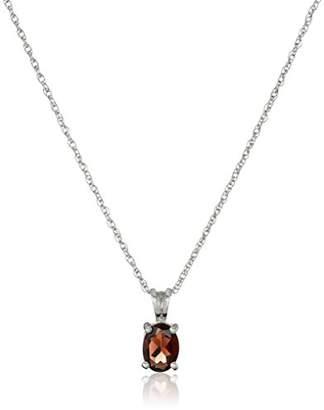 Sterling Oval Garnet Pendant Necklace