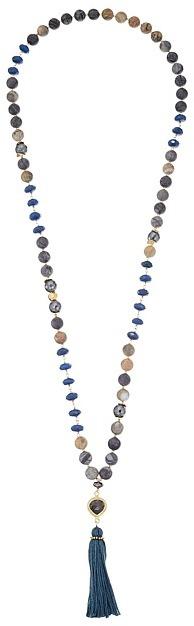 "Chan LuuChan Luu 34"" Semi Precious Stone Necklace with Tassle"
