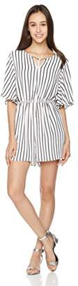 Peace Love Maxi Women's Short Sleeve Black White Stripe Romper