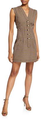 Derek Lam 10 Crosby V-Neck Fit-&-Flare Button-Front Dress