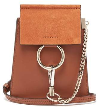 Chloé Faye Mini Suede Panel Leather Cross Body Bag - Womens - Tan