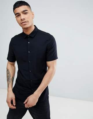 Asos DESIGN skinny viscose short sleeve shirt in black