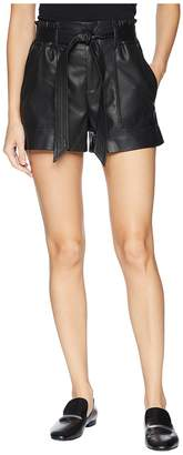 Blank NYC Vegan Leather Belted Shorts in Dark Web Women's Shorts