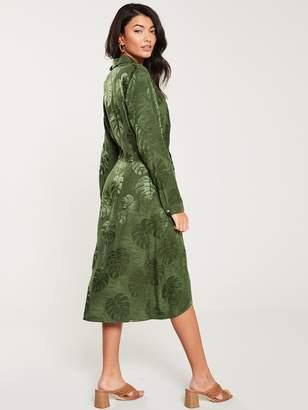 Wallis Leaf Satin Shirt Dress - Khaki