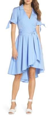 Eliza J Stripe Faux Wrap Shirtdress