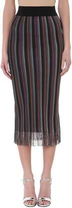Maison Flaneur Multicolor Stripes Cotton Pencil Skirt