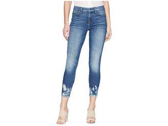 7 For All Mankind The Ankle Skinny w/ Bleach Holes at Hem in Desert Oasis 2 Women's Jeans