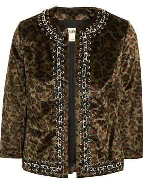 L'Agence Embellished Leopard-Print Faux Fur Jacket