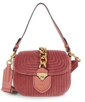 Moschino Velvet Quilted Satchel Bag