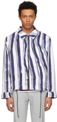 Daniel W. Fletcher White and Blue Striped Waterproof Rain Jacket