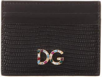 Dolce & Gabbana Iguana-Embossed Leather Card Holder