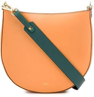 Closed contrasting strap shoulder bag