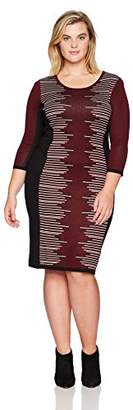 Gabby Skye Women's Plus Size 3/4 Sleeve Round Neck Midi Sweater Sheath Dress