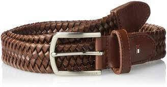 Tommy Hilfiger Men's Stretch Leather Braided Web Belt