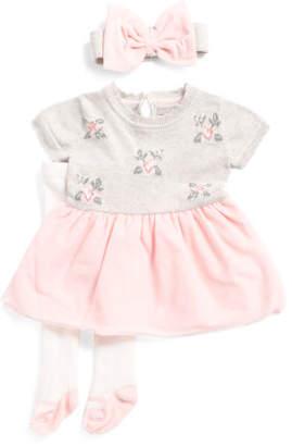 Newborn Girls Floral Sweater Dress With Mesh Skirt Headband