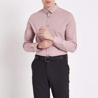 River Island Mens Blush pink slim fit long sleeve shirt